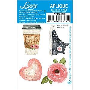 APM3-279 - Aplique Litoarte Em Papel E MDF - Kit Viagem All Star Flor Café