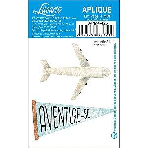 APM4-426 - Aplique Litoarte Em Papel E MDF - Kit Viagem Avião Bandeirola