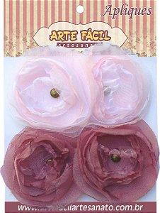 Flor em Tecido Decoração Com 4 Flores - FL-010 Arte Fácil