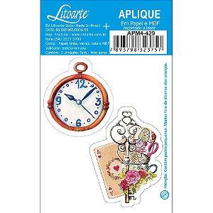 APM4-429 - Aplique Litoarte Em Papel E MDF - Alice No País Das Maravilhas,Relógio