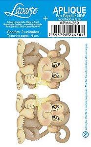 APM4-259 - Aplique Litoarte Em Papel E MDF - Macacos