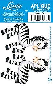 APM4-260- Aplique Litoarte Em Papel E MDF - Zebras