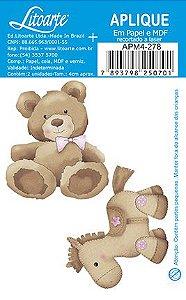 APM4-278 - Aplique Litoarte Em Papel E MDF - Urso e Cavalinho Feminino