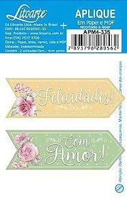 APM4-335- Aplique Litoarte Em Papel E MDF - Tag Felicidades e Com Amor