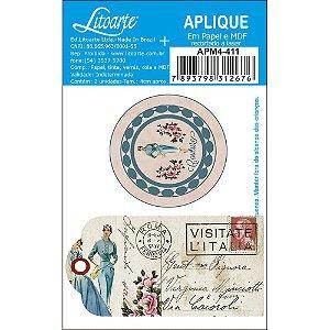 APM4-411- Aplique Litoarte Em Papel E MDF - Damas, Costura, Tags, Selos