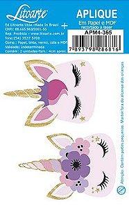 APM4-365- Aplique Litoarte Em Papel E MDF - Unicornios