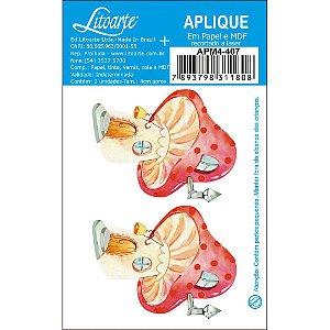 APM4-407 Aplique Litoarte Em Papel E MDF - Casinha , Cogumelos e Flores