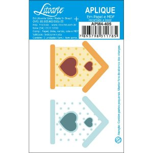 APM4-405 Aplique Litoarte Em Papel E MDF - Casinhas Passarinho