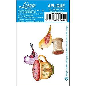 APM4-423 Aplique Litoarte Em Papel E MDF - Pássaros, Costura, Linhas, Carretel