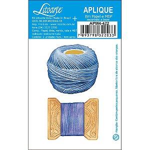 APM4-422 Aplique Litoarte Em Papel E MDF - Linhas, Meada, Costura, Porta Linhas