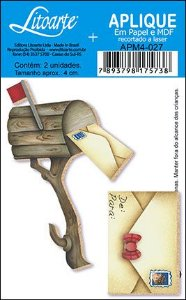 APM4-027 Aplique Litoarte Em Papel E MDF - Carta e Correio