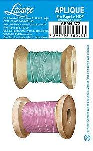APM4-372 Aplique Litoarte Em Papel E MDF - Carretel Verde e Rosa