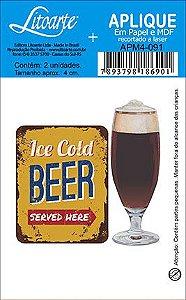APM4-091 Aplique Litoarte Em Papel E MDF - Copo Cerveja Beer