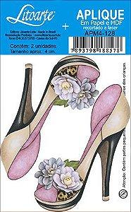 APM4-128 Aplique Litoarte Em Papel E MDF - Sapato Com Flores