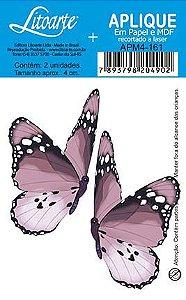 APM4-161 Aplique Litoarte Em Papel E MDF - Borboletas Rosa Claro