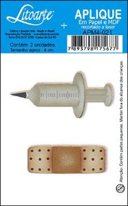 APM4-021 Aplique Litoarte Em Papel E MDF - Seringa e Band-Aid