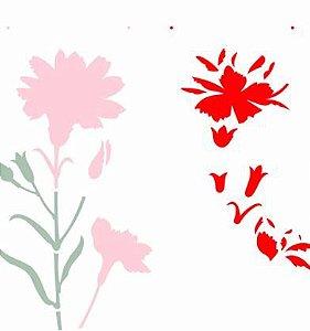 Stencil OPA Simples 30,5 x 30,50 cm - 2369 Flor Cravo