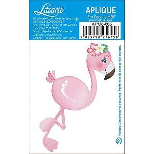 APM8-866 - Aplique Em Papel E MDF - Flamingo Com Flores