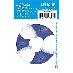 APM8-206 - Aplique Em Papel E MDF - Bóia Azul e Branca