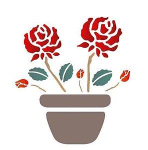 Stencil 14X14 Duplo – Vaso Com Rosas – OPA 1003