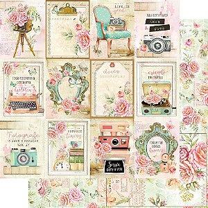 Papel Para Scrapbook Dupla Face 30,5 Cm X 30,5 Cm - Bons Momentos Cards/Floral - SD-1154