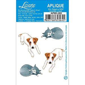 APM3-282 - Aplique Litoarte Em Papel E MDF - Cachorro E Gato