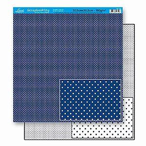Papel Para Scrapbook Dupla Face 30,5 cm x 30,5 cm – Poá Azul Escuro Pequeno SD-188