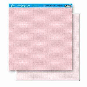 Papel Para Scrapbook Dupla Face 30,5 cm x 30,5 cm – Poá Rosa Pequeno SD-173
