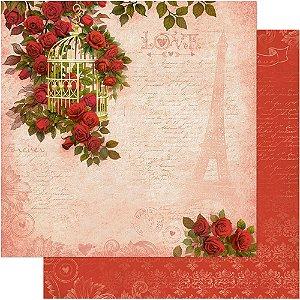 Papel Para Scrapbook Dupla Face 30,5 cm x 30,5 cm – Gaiola Com Rosas Vermelhas SD-542