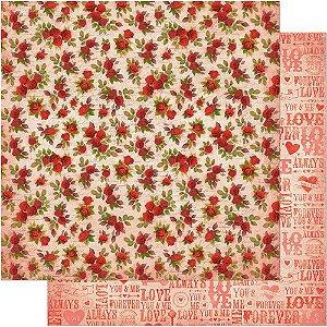 Papel Para Scrapbook Dupla Face 30,5 cm x 30,5 cm – Rosas Vermelhas Fundo Bege SD-543