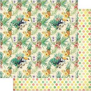 Papel Para Scrapbook Dupla Face 30,5 cm x 30,5 cm – Padrão Tropical: Abacaxi SD-660