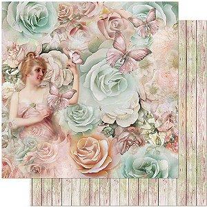Papel Para Scrapbook Dupla Face 30,5 cm x 30,5 cm – Floral Grande SD-966