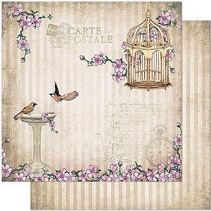 Papel Para Scrapbook Dupla Face 30,5 cm x 30,5 cm – Pássaros, Flores E Gaiola SD-866