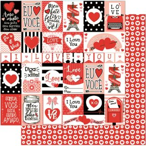 Papel Para Scrapbook Dupla Face 30,5 cm x 30,5 cm – Tags De Love/Amor SD-779