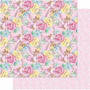 Papel Para Scrapbook Dupla Face 30,5 cm x 30,5 cm – Floral Cor-De-Rosa E Penas SD-739