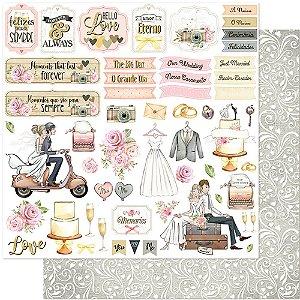 Papel Para Scrapbook Dupla Face 30,5 cm x 30,5 cm – Casamento, Noivos, Flores, Recém Casados SD-1121