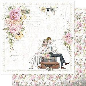 Papel Para Scrapbook Dupla Face 30,5 cm x 30,5 cm – Casamento, Noivos, Flores, Recém Casados SD-1119