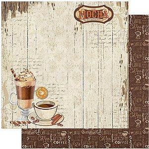 Papel Para Scrapbook Dupla Face 30,5 cm x 30,5 cm – Café, Copo, Chantilly, Xícara, Taça SD-1125
