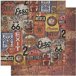 Papel Para Scrapbook Dupla Face 30,5 cm x 30,5 cm – Rustico, CARROS, PLACAS, ESSO, ROUTE 66 SD-1111