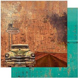 Papel Para Scrapbook Dupla Face 30,5 cm x 30,5 cm – Rustico, Carros, Las Vegas SD-1109