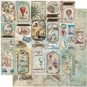 Papel Para Scrapbook Dupla Face 30,5 cm x 30,5 cm – Tags Balões,Carros,Navios... SD-1075