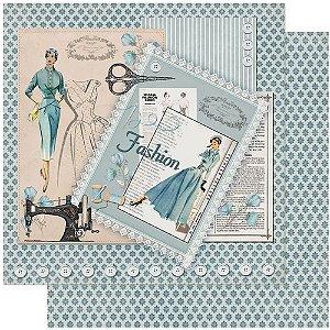 Papel Para Scrapbook Dupla Face 30,5 cm x 30,5 cm – Costura Fashion SD-1064