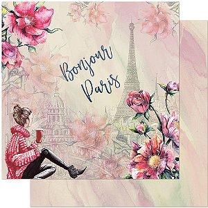 Papel Para Scrapbook Dupla Face 30,5 cm x 30,5 cm – Jovem, Flores E Torre Eiffel SD-957