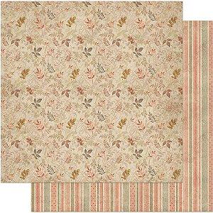 Papel Para Scrapbook Dupla Face 30,5 cm x 30,5 cm – Vintage Estampa Orgânica De Folha SD-721