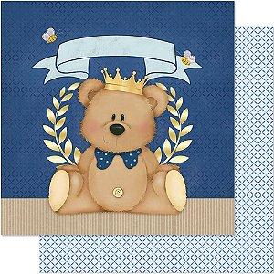 Papel Para Scrapbook Dupla Face 30,5 cm x 30,5 cm – Urso Coroa SD-604