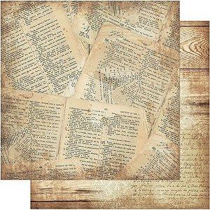 Papel Para Scrapbook Dupla Face 30,5 cm x 30,5 cm – Página Bíblia / Madeira SD-566
