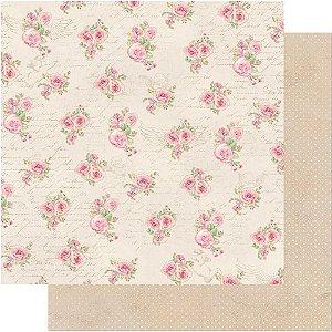 Papel Para Scrapbook Dupla Face 30,5 cm x 30,5 cm – Rosas E Arabescos De Anjos SD-493