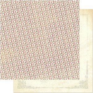 Papel Para Scrapbook Dupla Face 30,5 cm x 30,5 cm – Padrão De Rosas Pequenas SD-487
