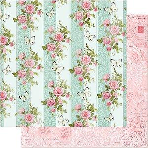 Papel Para Scrapbook Dupla Face 30,5 cm x 30,5 cm – Rosas E Borboleta Listras SD-477