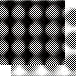 Papel Para Scrapbook Dupla Face 30,5 cm x 30,5 cm – Poá Preto Grande SD-195